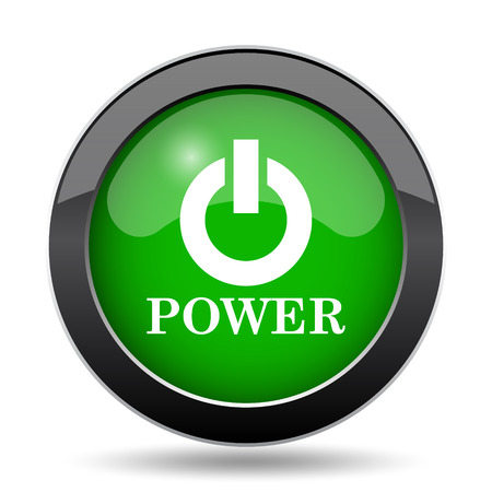 power button: Power button icon, green website button on white background.
