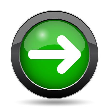 Right arrow icon, green website button on white background. Stock Photo
