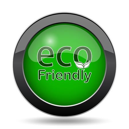 eco friendly icon: Eco Friendly icon, green website button on white background. Stock Photo