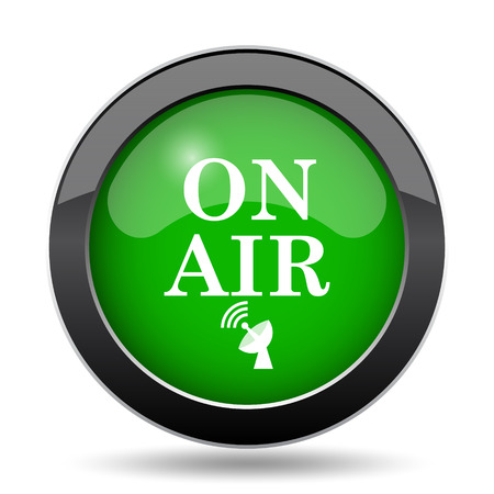 live stream tv: On air icon, green website button on white background.