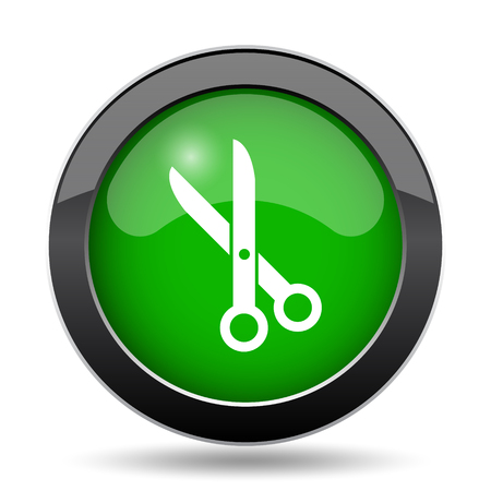 Cut icon, green website button on white background. Stock Photo