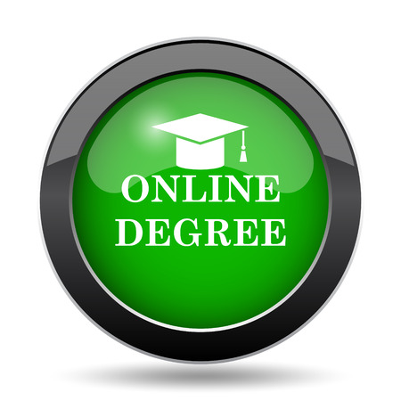 online degree: Online degree icon, green website button on white background.