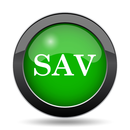 assessed: SAV icon, green website button on white background. Stock Photo