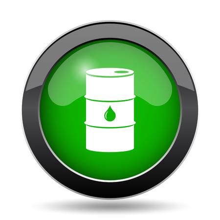 steel drum: Oil barrel icon, green website button on white background.