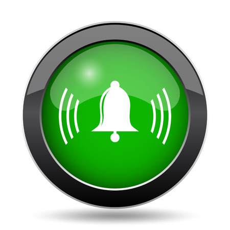 Bell icon, green website button on white background.