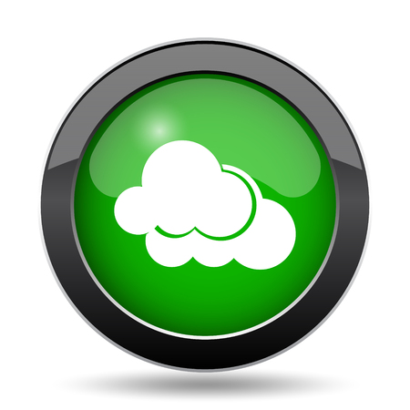 overcast: Clouds icon, green website button on white background.