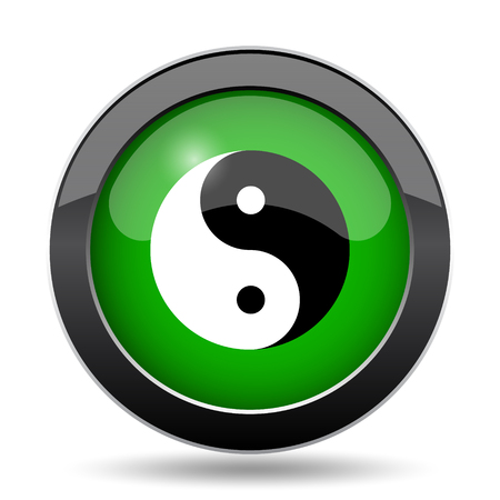 Ying yang icon, green website button on white background.