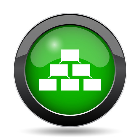 hierarchy: Organizational chart icon, green website button on white background. Stock Photo