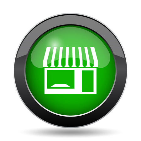 Store icon, green website button on white background.
