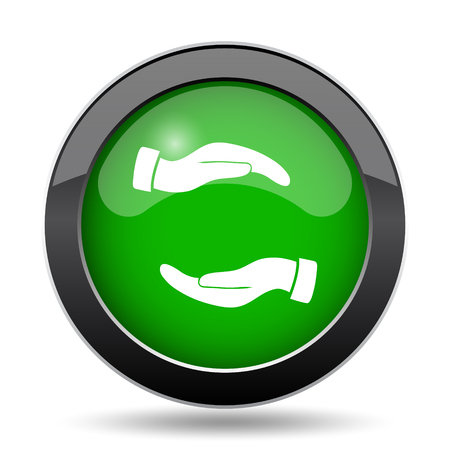 Protecting hands icon, green website button on white background.