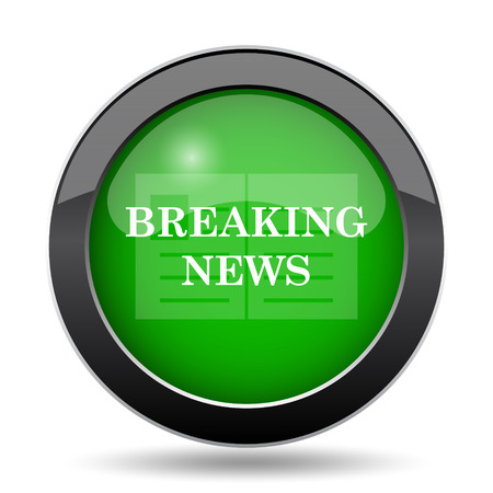 Breaking news icon, green website button on white background. Stock Photo