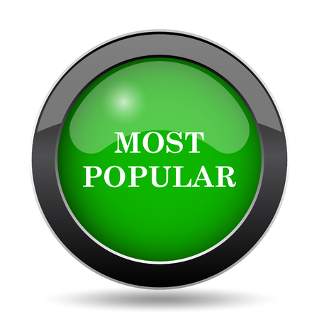 most popular: Most popular icon, green website button on white background.