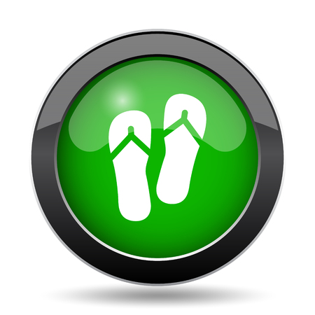Slippers icon, green website button on white background.