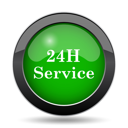 20   24: 24H Service icon, green website button on white background.