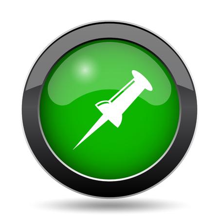 Pin icon, green website button on white background. Stock Photo