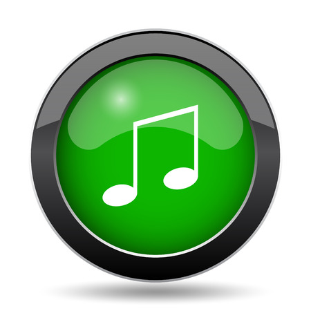 melodic: Music icon, green website button on white background.