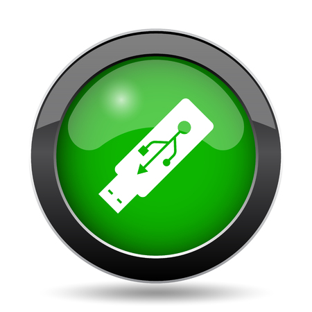 Usb flash drive icon, green website button on white background. Stock Photo