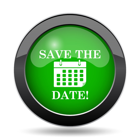appointments: Save the date icon, green website button on white background.