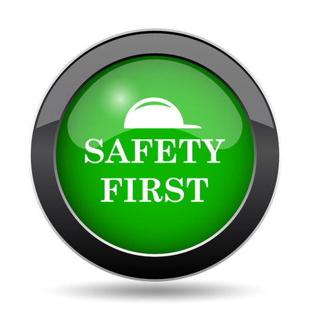 cautionary: Safety first icon, green website button on white background.