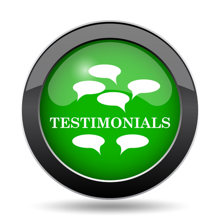 certificated: Testimonials icon, green website button on white background.
