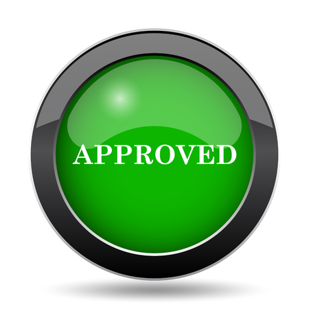 approved icon: Approved icon, green website button on white background. Stock Photo