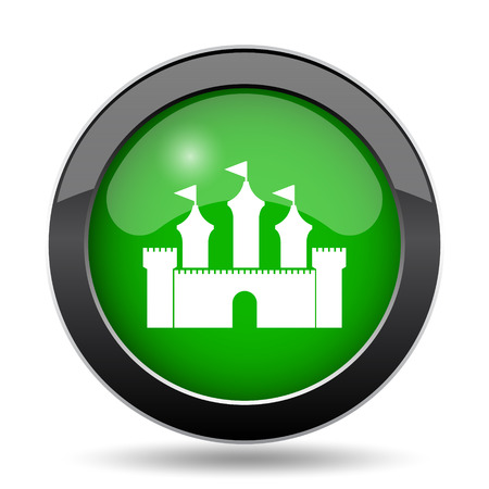 Castle icon, green website button on white background.