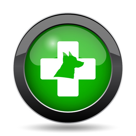 rescue dog: Veterinary icon, green website button on white background. Stock Photo