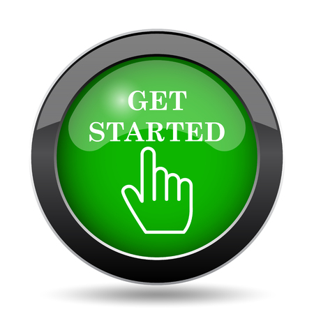 Get started icon, green website button on white background.