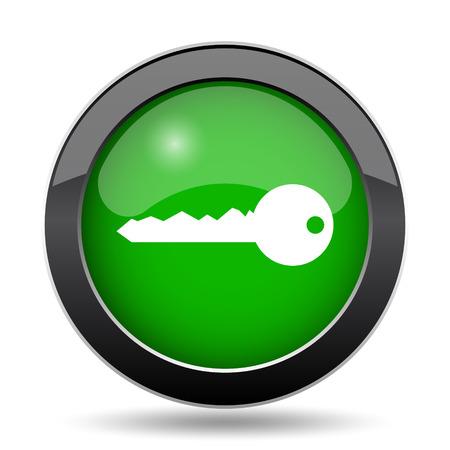Key icon, green website button on white background. Stock Photo