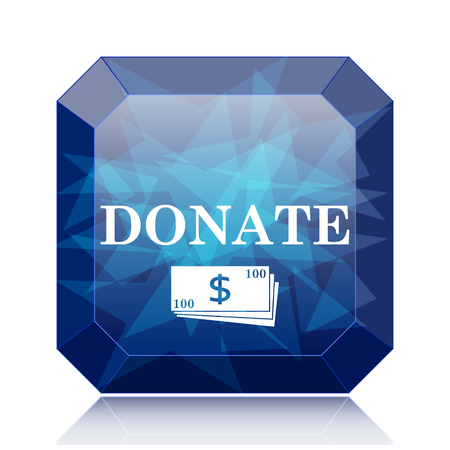 Donate icon, blue website button on white background.