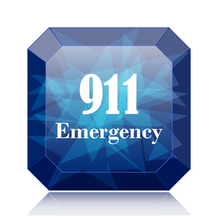bad service: 911 Emergency icon, blue website button on white background. Stock Photo