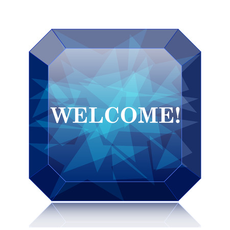 Welcome icon, blue website button on white background. Stock Photo