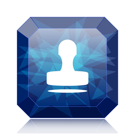 qualify: Stamp icon, blue website button on white background.