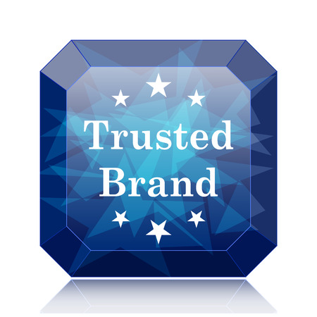 trusted: Trusted brand icon, blue website button on white background. Stock Photo