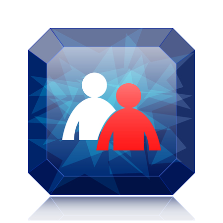 Mentoring icon, blue website button on white background. Stock Photo