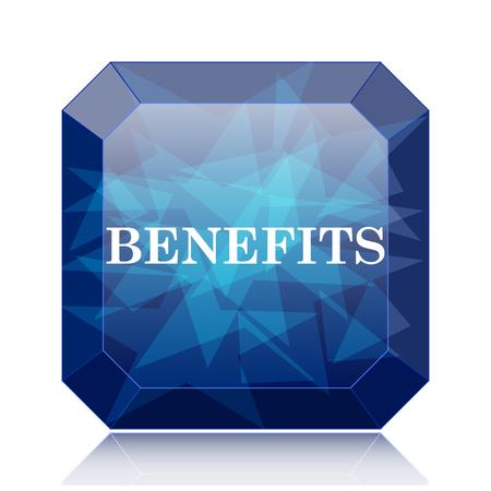 Benefits icon, blue website button on white background.