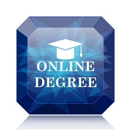 online degree: Online degree icon, blue website button on white background. Stock Photo