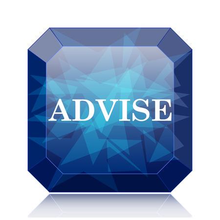 advise: Advise icon, blue website button on white background. Stock Photo