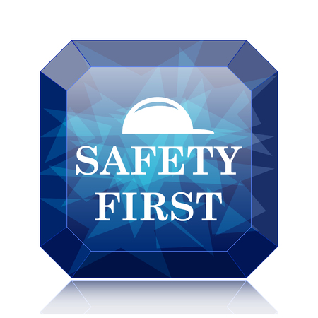 cautionary: Safety first icon, blue website button on white background. Stock Photo