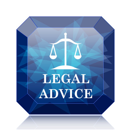 judiciary: Legal advice icon, blue website button on white background.
