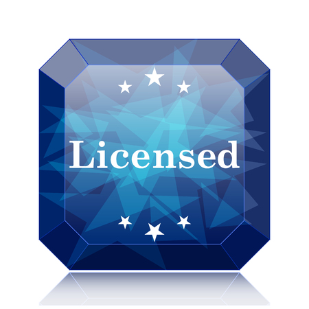 Licensed icon, blue website button on white background. Stock Photo