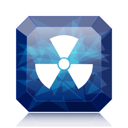 caution chemistry: Radiation icon, blue website button on white background.