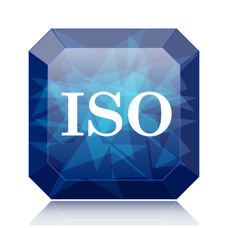 norm: ISO icon, blue website button on white background. Stock Photo