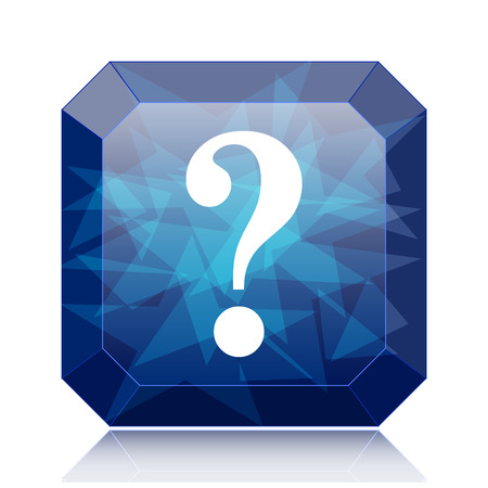 Question mark icon, blue website button on white background.
