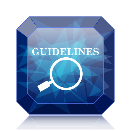 guidelines: Guidelines icon, blue website button on white background. Stock Photo