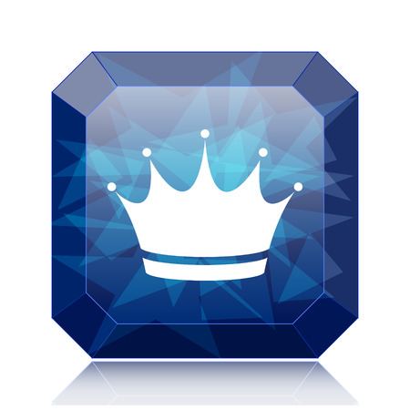 royal person: Crown icon, blue website button on white background. Stock Photo