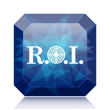 ROI icon, blue website button on white background.