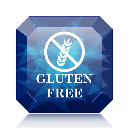 preservatives: Gluten free icon, blue website button on white background.