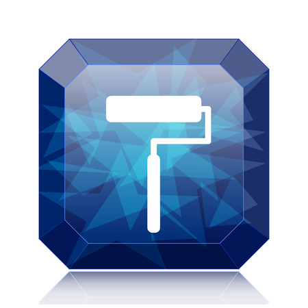 blue roller: Roller icon, blue website button on white background. Stock Photo