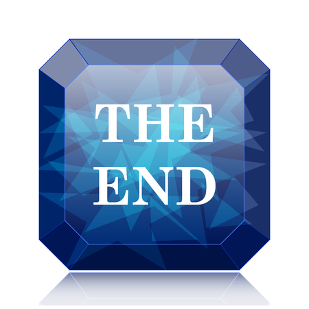 story time: The End icon, blue website button on white background. Stock Photo